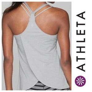 Athleta Gray Tulip Support Tank Built in Bra Top
